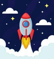 Une fusée ou un vaisseau spatial explore les étoiles dans le vaste universImprimer
