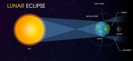 Éclipse lunaire de la lune. vecteur