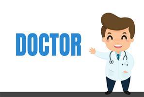 Carrière de dessin animé. Docteur en uniforme en visite chez le patient et expliquant ses connaissances médicales. vecteur