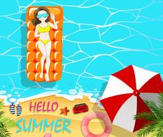 Vacances d'été avec femme sur radeau flottant vecteur