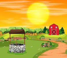 Un paysage de terres agricoles au coucher du soleil