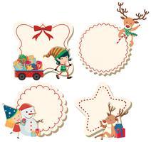Quatre étiquettes avec thème de Noël vecteur