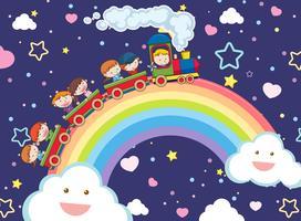 Enfants prenant un train sur l'arc-en-ciel