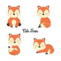 Ensemble de mignons petits renards dans le style de dessin animé.