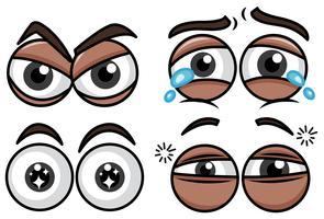 Émotion quatre yeux différents sur fond blanc vecteur