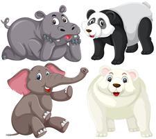 Ensemble d'animaux isolés