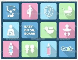 Paquet de vecteur pastel icône bébé