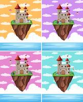 Ensemble d'île de château de fantaisie vecteur