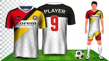 Maillot de soccer, maillot de sport ou maillot de football, modèle de maquette de présentation.