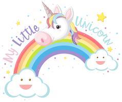 Ma petite licorne et arc en ciel vecteur