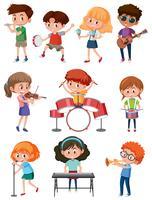 Enfants avec instrument de musique vecteur