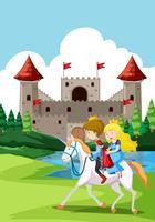 Heureux prince et princes au château vecteur
