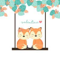 Cartes de la Saint-Valentin. Couple de renards sur balançoire dans la forêt. vecteur