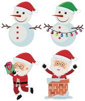 Deux bonhommes de neige et père Noël sur fond blanc vecteur