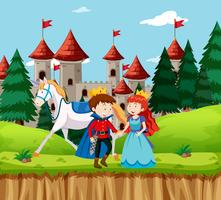 Princesse et prince au château vecteur
