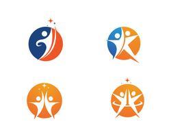 Signe de logo de caractère humain Signe de logo de soins de santé vecteur