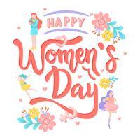 Calligraphie de texte avec fleur de la journée internationale de la femme. Carte de voeux femme icône - Illustration vectorielle