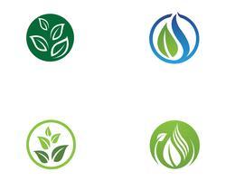 Modèle de logo de feuille d'arbre Eco vecteur