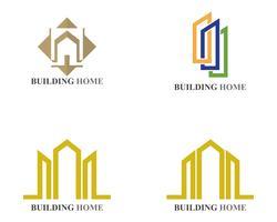 icônes de logo et symboles maison bâtiments vecteur