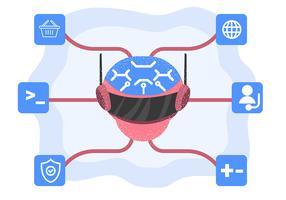 Intelligence artificielle avec tête de robot vecteur