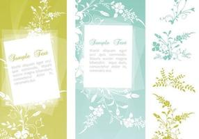 Swirly Floral Banner Pack Vector