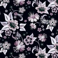 Vecteur série de coins floraux sur fond noir