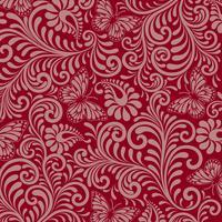 Motif floral sans soudure sur fond rouge vecteur