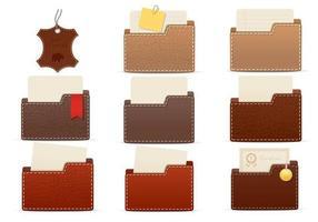 Ensemble vectoriel de dossiers de dossiers en cuir