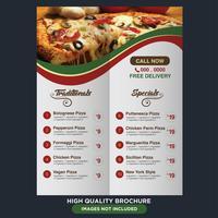 Modèle de menu de restaurant italien vecteur