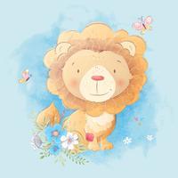 Illustration de dessin animé mignon d'un lion avec un bouquet de fleurs dans le style de l'aquarelle numérique. vecteur