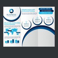 Brochure d'entreprise à trois volets bleue vecteur