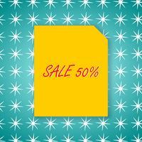 Modèle de conception vente bannière 50% sur papier jaune et fond vert pour illustration vectorielle affiche.