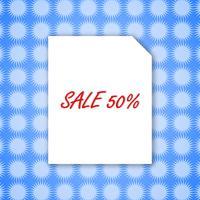 Modèle de conception vente bannière 50% sur du papier blanc et fond bleu pour illustration vectorielle affiche.