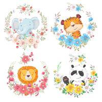 Ensemble de dessin animé animaux mignons éléphant tigre lion et panda dans des guirlandes de fleurs pour les enfants clipart. vecteur