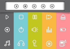 Pack d'icônes de vecteur de lecteur multimédia