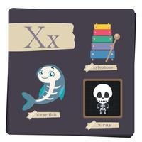 Alphabet coloré pour enfants - Lettre X vecteur