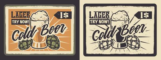 Affiche avec un verre de bière.