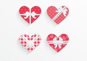 Pack de vecteur de boîte cadeau coeur à motifs