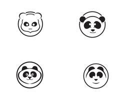 tête de panda logo noir et blanc