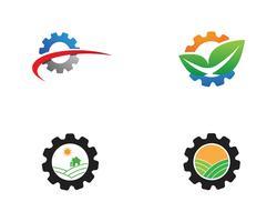 gear logo green Tree leaf écologie nature élément vecteur