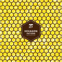 Modèle abstrait d'hexagones sur un coup de main brosse dessiner fond jaune.