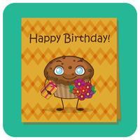 Carte d'anniversaire avec caractère de muffin vecteur