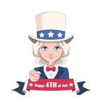 Illustration de l'Oncle Sam avec bannière du 4 juillet vecteur