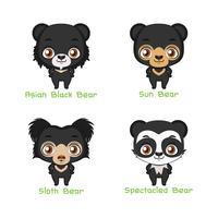 Ensemble d'espèces d'ours de couleur noire