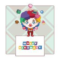 Voeux d'anniversaire avec joyeux clown vecteur