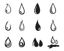 Goutte d'eau noir n couleur logos vecteur