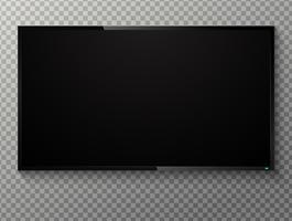 Téléviseur à écran noir vierge réaliste sur un fond transparent. vecteur