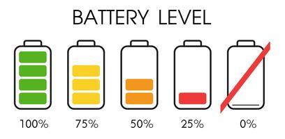 Icône de niveau de puissance sur la batterie du smartphone. vecteur