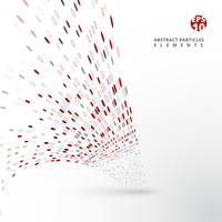 Éléments de particules abstraits rouges et gris se déforment sur fond blanc.