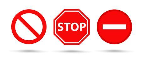 Red Sing Stop et symbole d'avertissement Vector. Isoler sur fond blanc